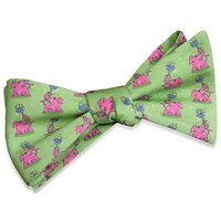 Pink Elephants Bow Tie in Green by Bird Dog Bay