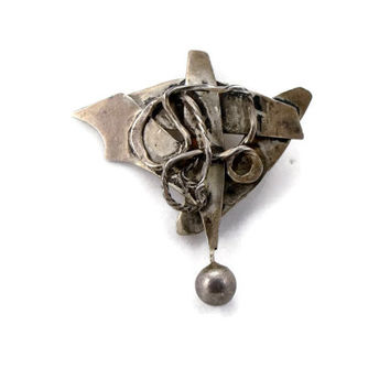 Abstract Brooch, Sterling Silver, Artisan Made, Modernist Pin, Vintage Jewelry, Abstract Bat, Estate Jewelry, Mid Century Modern, Brooch Pin