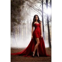 Nina Dobrev Red Strapless Prom Dress Vampire Diaries Season 2