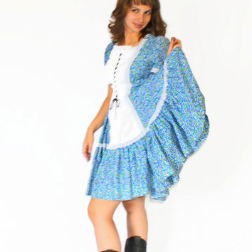 70s Folk Dress. Square Dancing Dress. Blue White Dress.  Dorothy Halloween Costume. Wiz of Oz. Size Small. Swing Dress.