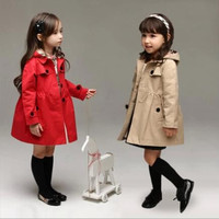 2015 New Arrival Autumn Winter Girls Removeable Cap Classic Single-breasted Wind Coat Children Clothing Boutique Kids Outwear.