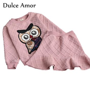 Dulce Amor Girls Clothes Set 2018 New Spring Cotton Kid Clothing Suit For Girl Long Sleeve Embroidery Owl Sweatshirt + Skirt