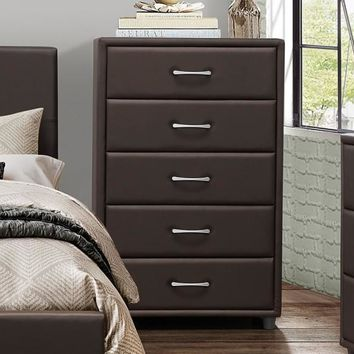 5 Drawer Chest In Wood And PVC, Brown