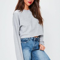 Missguided - Grey Raw Hem Cropped Sweatshirt