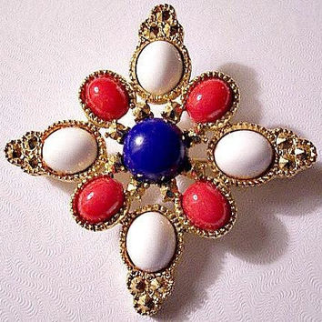 Sarah Coventry Red White Blue Star Pin Brooch Gold Tone Vintage Americana Large Nail Heads Crimped Cabochon Beads American USA Flag Colors