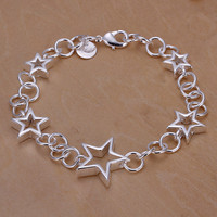 Five Hollow Star Silver Bracelet