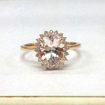 Morganite Engagement Ring in 14K Rose Gold!7x9mm Oval Cut Pink Morganite,Full Cut Diamond Engagement Ring,Halo Flower Wedding Bridal Ring