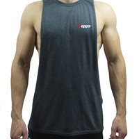 Repps Men's Sleeveless Cut off Muscle Tank Top Shirt - Heather Dark Gray