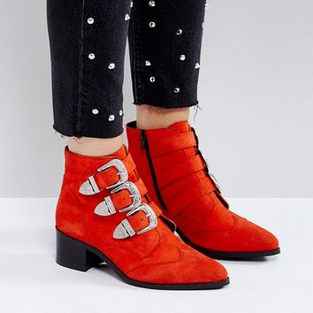 ASOS RELIEVE Wide Fit Suede Buckle Ankle Boots at asos.com