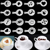 16pcs Kitchen Dining & Bar Cappuccino Coffee Barista Stencils Template Strew Flowers Pad Duster Spray