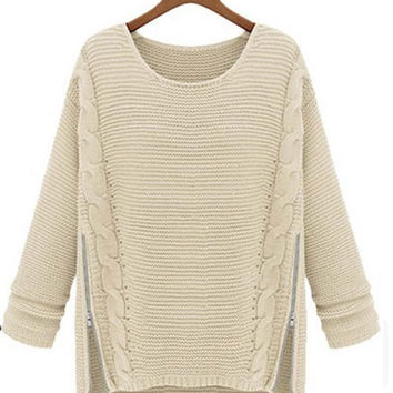 Women's Fashion Zip Decoration Knitted Pullover Sweater Jumper
