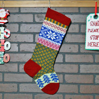 Christmas Stocking, Hand Knit with Claret Red Cuff, Aran Snowflake and Royal Blue Trees, can be personalized