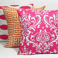 """PILLOWS Tangerine, Pink, White Accent Pillows THREE 20"""" Pillow Covers Ikat, greek key, damask 20 inch"""