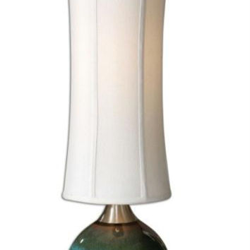 Buffet Table Lamp - High-gloss Blue Ceramic Body With Olive Drip, Rust Details And Aluminum Accents With Brushed Effect