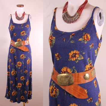 Vintage - 90s - Blue & Yellow - Sunflower Floral - Ribbed Cotton - Spaghetti Strap - Fitted - Long - Maxi Dress - Grunge Revival