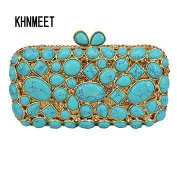Cobblestone turquoise Clutch Bag Women Diamond Evening Bag Crystal Pochette Purse light green Bling Wedding Party Handbag sc459