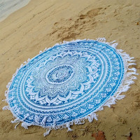 Blue Round Mandala Bedding Outlet Hidden Tapestry Bohemia Colorful Polyester  Hanging Wall Tapestries Free shipping