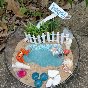 Fairy Garden Kit, Miniature Beach Garden, Fairy Garden Supplies, Fairy Beach Kit, Fairy House Kit, Miniature Garden Supplies, Terrarium Kit