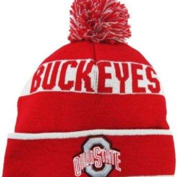 Ohio State Buckeyes Red/Grey Cuffed Pom Knit Beanie Hat / Cap
