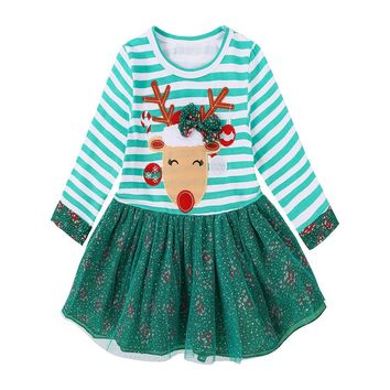 2017 NEW Christmas Girl's Dress Cotton deer princesses Dress striped long-sleeved gauze Ball Gown dress Baby Girls Clothes