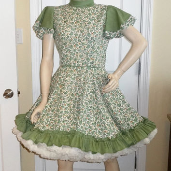 1960s Vintage Home Sewn Square Dance Dress in Green Calico Print with Solid Trim, Size 12-14, Cap Sleeve, Vintage Square Dance Costume Dress