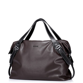 Fashion Men's Genuine Leather Lightweight Small Holdall Duffle Bag Tote Weekender Luggage Overnight Travel Bag Carryall