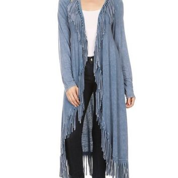 Cheyenne Sky Fringed Cardigan- Two colors