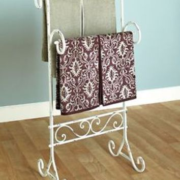 Vintage Style Bathroom Towel Stand Holder Rack Distressed Antiqued Metal Bath