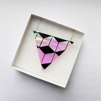 ILLUSIVE Resin Geometric Prism Triangle 3D Blocks Cubes Iridescent Opal Statement Necklace Pendant Kawaii Kitsch Pastel Goth Grunge Festival