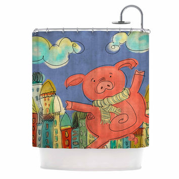 "Carina Povarchik ""Happy Urban Pig"" Pink Blue Shower Curtain"