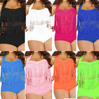 Plus Size Bikini Set Women Retro Padded Push Up Tassel High Waist Swimwear Swimsuit Bathing