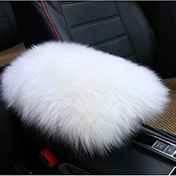Dotesy Auto Center Console Armrest Pad,Australian Sheepskin Wool Armrest Center Console Protector Cover Pad Cushion (5.91x11.81 inch),White