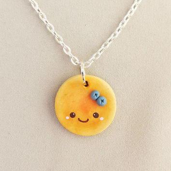 Kawaii Blueberry Pancake Necklace Polymer Clay Food Jewelry
