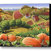 Farm Folk Art, Autumn Pumpkin Patch Rural Country Appalachian Landscape, Giclee Canvas Print, Thanksgiving, Americana
