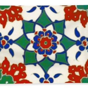 An Ottoman Iznik Style Floral Design Pottery Polychrome, By Adam Asar, No 13d - Bath Towel