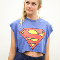 vtg 90's superman cartoon crop top, blue super hero cropped muscle tee shirt, 1990s ironic vtg tumblr soft grunge vaporwave urban outfitters