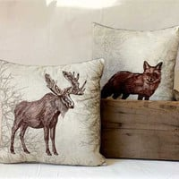 Linen Embroidered Pillow w Wildlife