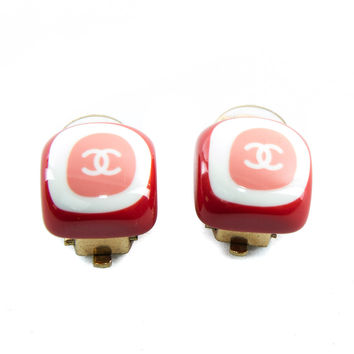Authentic Chanel CC logo pink and white clip on earrings