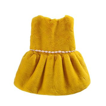 Autumn Winter Baby Girls Faux Fur Kids Belted Vest Waistcoat Cardigans Outwear Casaco MT1545