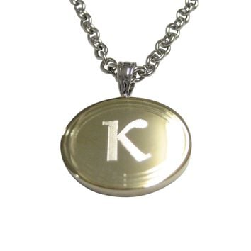 Gold Toned Etched Oval Greek Letter Kappa Pendant Necklace