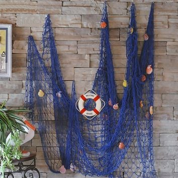 FLAMMA VENTURES Decorative Fish Net with Bonus Lifebuoy and Seashells, Mediterranean Style Nautical Decor, Blue, 6'7 x 4'11 Large Size (200x150cm), Wall and Home Decor, Party Supplies, Wall Art
