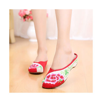 Summer Old Beijing Cloth Shoes Embroidered Shoes Slipsole Middle Heel Woman National Slippers red