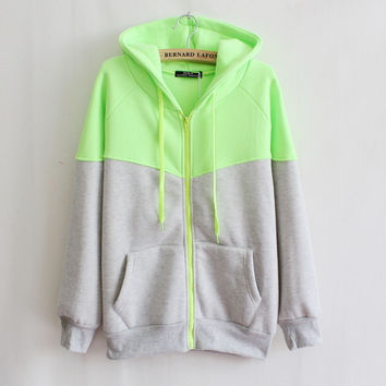 womens casual sports gray green patchwork hoodie autumn winter sweater sweatshirt lady girls outwear gift 53