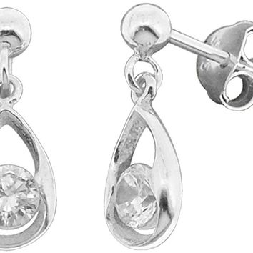 Sterling Silver Hollow Teardrop Shape White CZ Stone Small Drop Dangle Earrings