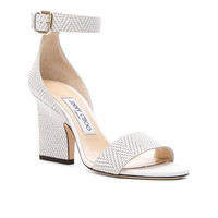 Jimmy Choo Knit Embossed Leather Edina Sandals in Latte | FWRD