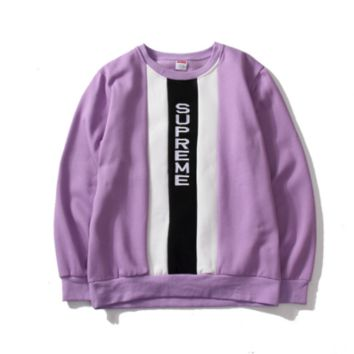 Classic embroidery spell color plus crew neck sweater youth casual men and women coat