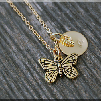 Gold Butterfly Necklace, Initial Charm Necklace, Personalized Necklace, Insect Charm Necklace, Butterfly pendant, Insect Jewelry