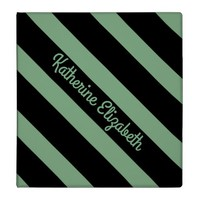 Custom Add your Name Mint Green and Black Striped Binder