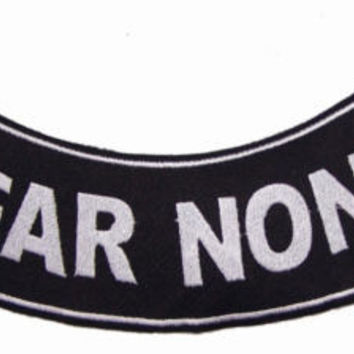 FEAR NONE ROCKER PATCH BACK PATCH FOR VET BIKER MOTORCYCLE VEST JACKET