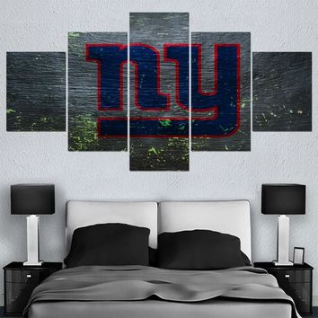5 Pcs Football Team New York Giants Paintings Wall Art Home Decor Picture Canvas Painting Calligraphy For Living Room Bedroom
